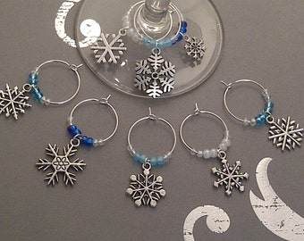 Let it Snow Wine Charm Set of 8 - Snowflake Charms with Blue and White Beads