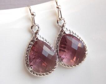 Plum Earrings, Glass Earrings, Silver, Drop, Dangle, Eggplant, Bridesmaid Jewelry, Wedding Jewelry, Bridesmaid Earrings, Bridesmaid Gift