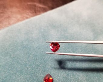 6x6 Red Heart Shaped Cubic Zirconia
