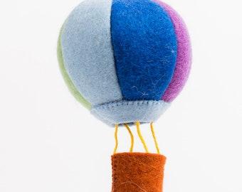 Felt Hot Air Balloon Ornament, Up Up and Away Hot Air Balloon - Blue Rainbow, Felt Christmas Ornament