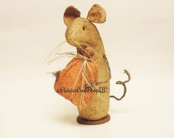 Extreme Primitive Pumpkin Mouse - Made To Order, Primitive Mouse, Fall Decor