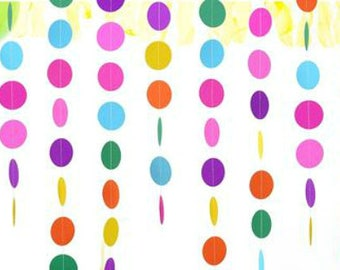 Streamer Polka Dot Garland Rainbow Banner Balloon Tassel Circle Garland Birthday Banner Rainbow Party Decoration Table Backdrop Background