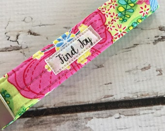 Wristlet Floral Key Fob, Find Joy Gifts for friends, teens, family, co worker