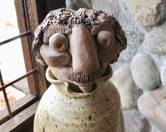 Large Vintage Pottery Sculpture, Bottle, Decanter, Folk Art, Character Figurine, One of a Kind, Mid Century