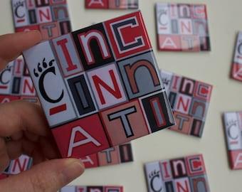 "University of Cincinnati, Cincinnati Magnet, Bearcat, College, University, Grad Gift, Fridge Magnet, 2.5"" Square Refrigerator Magnet"