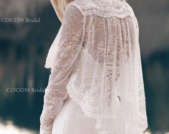 Vintage bolero/jacket made from original floral French laces romantic bolero Bolero with buttons.