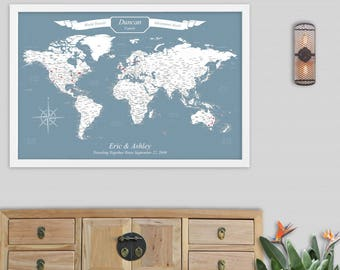 World Travel Map World Map Wall Art World Map Push Pin Map Art Personalized Map of World Map Canvas Travel Gifts Travel Map Pushpin World
