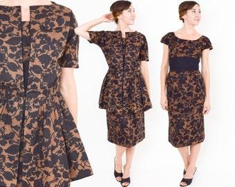 50s Floral Party Dress | Brown Black Print Cotton Dress & Peplum Jacket | Medium