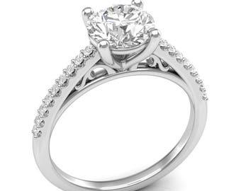 White Gold Engagement Ring Vintage Ring Filigree Ring Semi Mount Round Center Colorless For Her Brand New 14K Forever One Moissanite Center