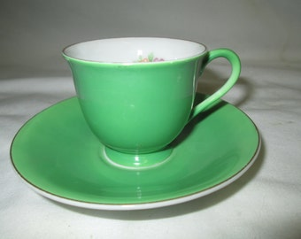 Vintage Occupied Japan Fine china Green demitasse cup and saucer with floral pattern