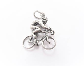 Vintage Sterling Bicyclist Man on Bicycle Charm