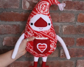 Handmade Valentine's Day Plush Doll, OOAK Elf Plushie, Stuffed Animal, Love Note Pocket Doll, Fleece Heart Creature, Wedding, Anniversary