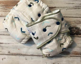 Chevron Print Hybrid Fitted Cloth Diaper Handmade Organic Zorb Fold Down Rise FDR OS One Size Serged and Turned