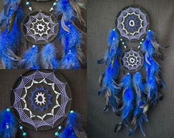 Dream Catcher Dreamcatcher Dreamcatcher Blue Boho Decor Bohemian Decor Feathers Dreamcatcher