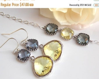 Wedding Jewelry Set, Yellow and Grey Earrings and Bracelet, Sterling Silver, Bridesmaid Gifts, Bridesmaid Jewelry, Dangle, Bracelet Earrings