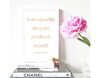 Coco Chanel You can be gorgeous at thirty Gold Foil Print Black Print Gold Wall Art Hot  Rose Gold Mural Prints Vintage Foil Quote