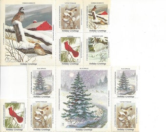 Vintage National Wildlife Federation Stamps, Holiday Greetings, 1983