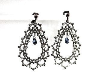 Clip earrings ear jewelry for non-pierced ears jewelry in antiqued silver clip earrings long earrings gift for you