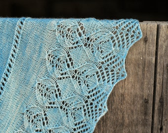 INSTANT DOWNLOAD PDF Knitting Pattern for Women's Lace Shawl Wrap Crescent with Lace Cashmere Lace Border Wide Idina