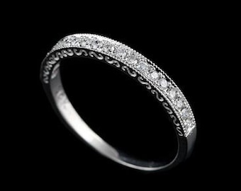 Diamond Wedding Ring, Antique Style Wedding Band, Engraved Wedding Ring, Milgrain Carved Wedding Band, Taper Women's White Gold Band 2.3mm