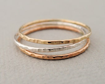 Thin Stacking Rings Delicate textured ring rose gold ring, sterling silver ring, thin gold ring stackable rings midi ring set or thumb ring