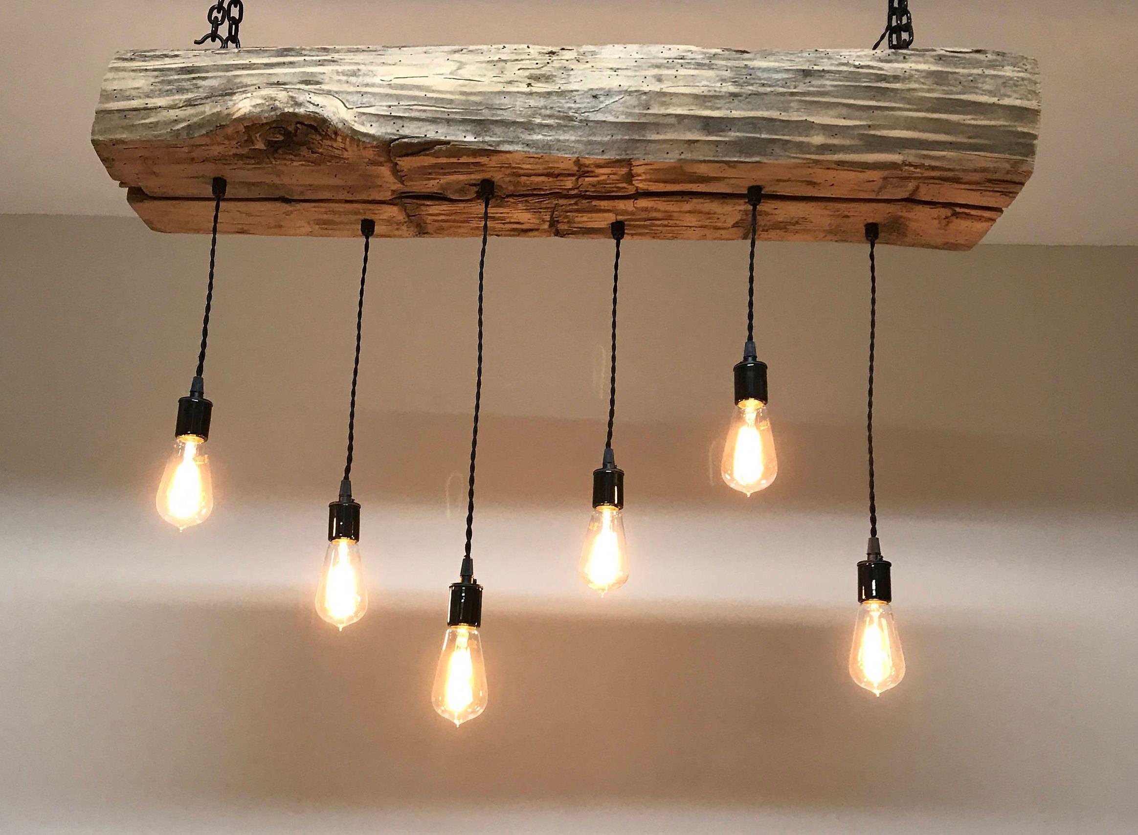 Farmhouse chandelier 48 Reclaimed Barn Sleeper Beam Wood