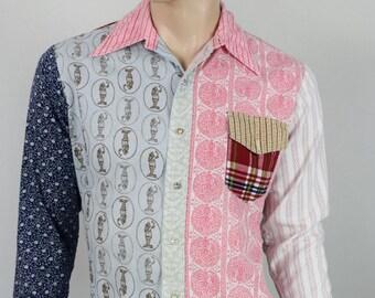 Vintage 1970's Men's JC Penney Groovy Group PaTcHwOrK HiPPiE HiPsTeR RoCk sTaR Shirt M 44