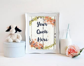 custom quote printable wall art white peach floral personalised name Bible quote sweet nursery print your own modern decor flowers