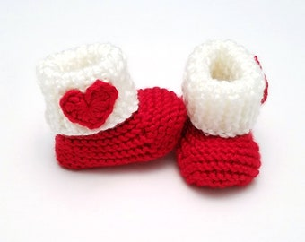 Heart Baby Booties • Red Baby Booties • Valentine's Day Baby Booties • Pregnancy Announcement Prop • Valentine's Day Baby Shower Gift