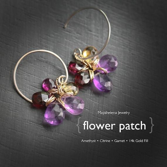 Flower Patch  - Amethyst Garnet and Citrine Flower Dangle 14k Gold Fill Earrings