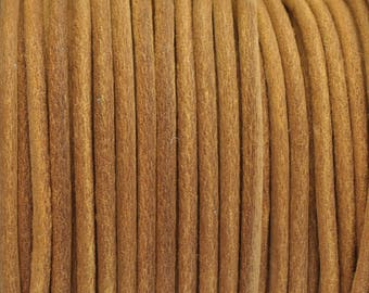 3MM Round Suede Leather Cord - Made in Eu - Tan - 2M/6.56 FT