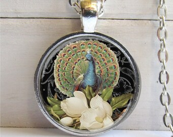 Peacock Pendant, Photo Pendant, Peacock Charm, Peacock Necklace, Art Pendant
