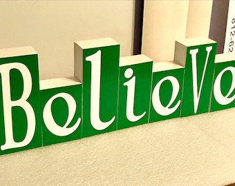 Believe decor, Christmas decorations, Believe blocks, 2 sided blocks, home decor, Green decorations, Red decorations, Believe in Jesus