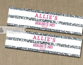 Silver Glitter Water Bottle Labels Drink Label Hot Pink & Silver Bachelorette Party Bridal Shower Wedding DIY Drink Bottle Labels 8x2- Allie
