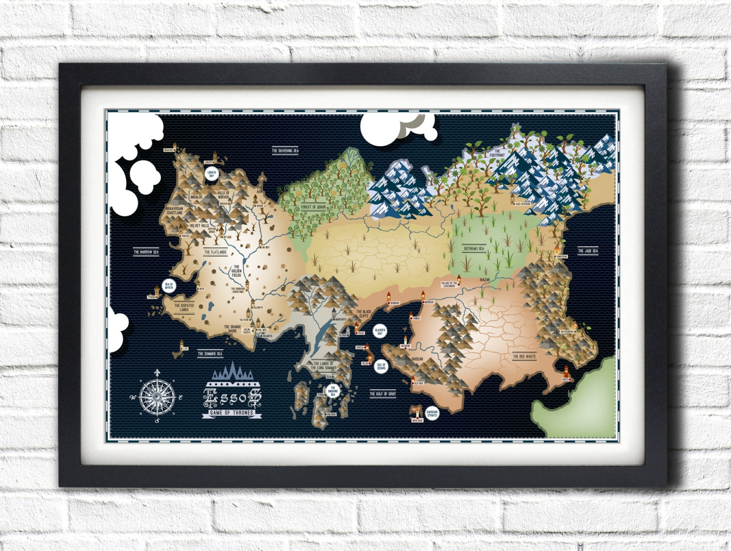 Game of thrones essos map 19x13 poster zoom gumiabroncs Image collections