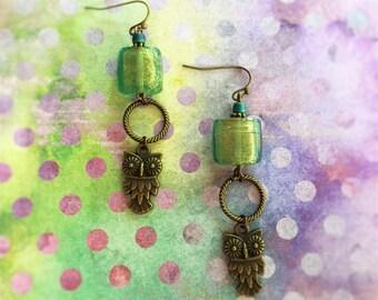 Vintage Brass Owl Earrings