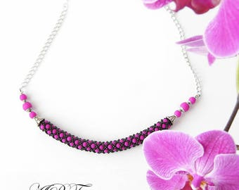 Purple neon pearl collar, gift|for|her beaded rope necklace, UV active pearl necklace, seed beads necklace, beadwork, beadwoven collar