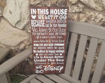 In This House Disney Sign, Hand Painted Disney Wood Sign, Disney House, Disney Decor, Disney Sign