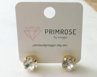 Crystal + Gold, Handmade Swarovski Crystal Stud Earrings, Gold Stud Earrings, Bridal Earrings, Wedding Jewelry, Wedding Studs, Gift for her
