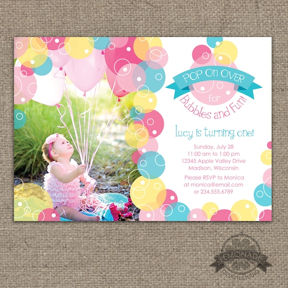Bubble invitation bubbles birthday party invite pop on like this item filmwisefo
