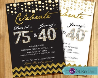 Adult joint birthday invitation adult combined invitation adult joint birthday invitation combined invitation gold foil joint birthday white and gold or black and gold any age a1035 filmwisefo