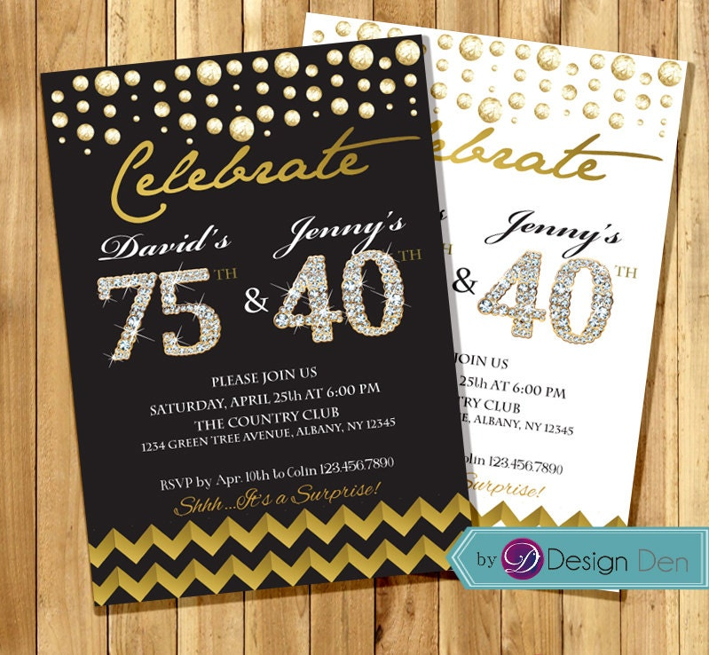 Adult Joint Birthday Invitation Combined Invitation Gold