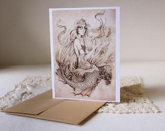 On the Seafloor Greeting Card // Print of Original Fantasy Illustration
