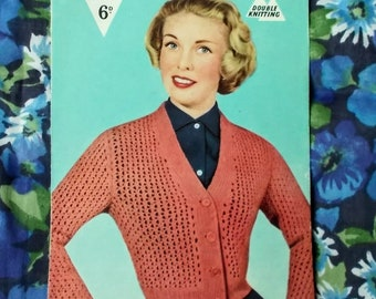 "Original Vintage Bestway Knitwear Pattern - 1957 - Lady's cardigan in simple lace pattern - Bust 34"" to 36"" - No. B3072 - Used"