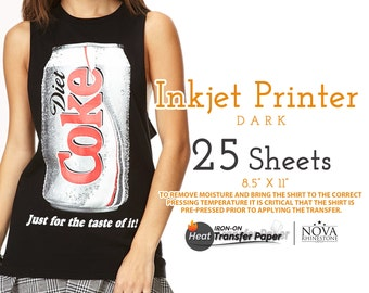 """Inkjet Iron-On Heat Transfer Paper, For Dark fabric, 8.5"""" x 11"""", 25 Sheets FREE shipping"""