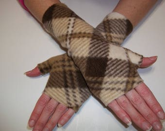 Fleece Fingerless Gloves - Brown Plaid Print - Your Choice of Size Women's