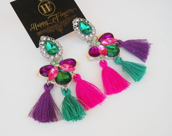 Tassel Earrings Boho Earrings Statement Earrings Summer Earrings Rhinestone Earrings Colorful Earrings Gift For Her Hippie earrings Tassels