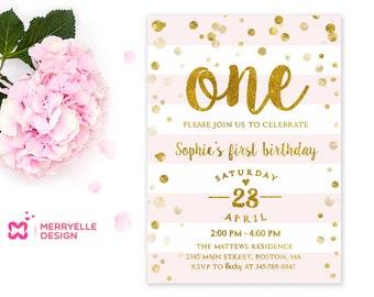 First birthday invitation girl, 1st Birthday, Girls party invites, Girl birthday invitations, 1st birthday invitations girl pink and gold