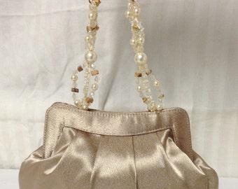 Formal purse,Satin Purse , beaded Handle ,Formal, Tan,Taupe,small formal purse