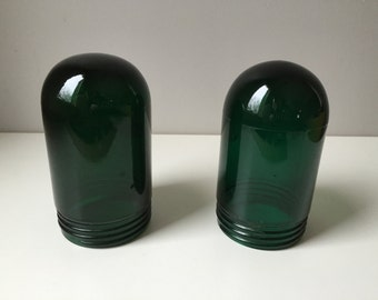 Pair of Green Explosion Proof Industrial Glass Lamp Covers